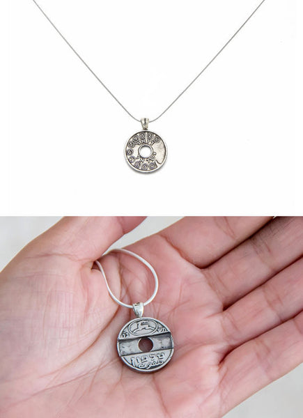 Old Israeli Telephone Token Coin Necklace