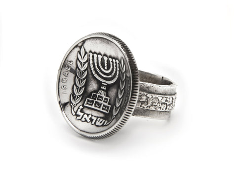 Israeli Old, Collector's Coin Ring - Old 1/2 pound Coin of Israel