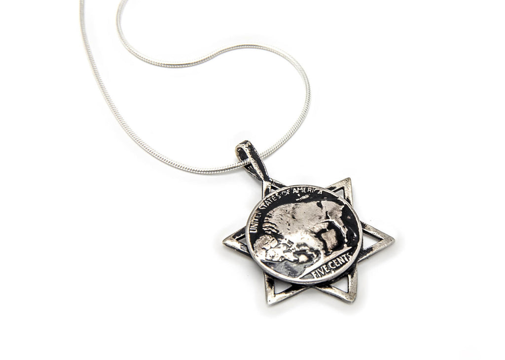 Buffalo Nickel Old Coin of USA Coin with Magen David Pendant Necklace