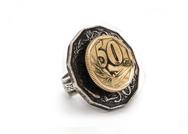 South Africa & Australia Coin Ring - Men's & Women's Silver Ring