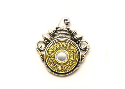 Bullseye New York Subway Token Pendant Necklace