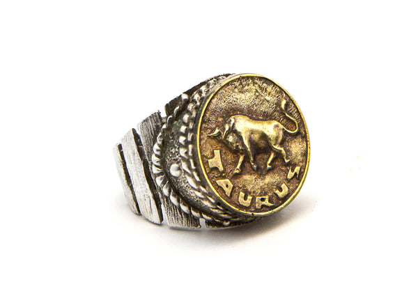 Taurus Sign Astrology Zodiac Bull Brass Ring