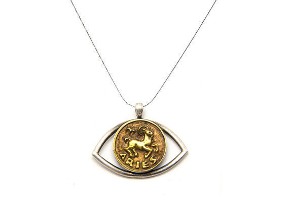 Aries Sign Astrology Zodiac Pendant Eye Charm Necklace