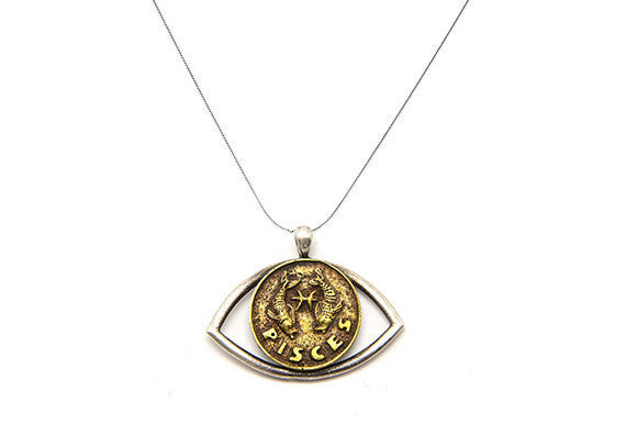 Pisces Sign Astrology Zodiac Charm Eye Necklace