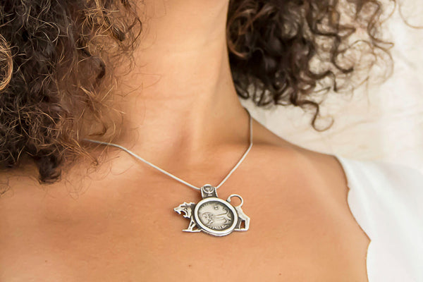 Courage Israeli Old Coin - Handmade Lion Silver Pendant Necklace