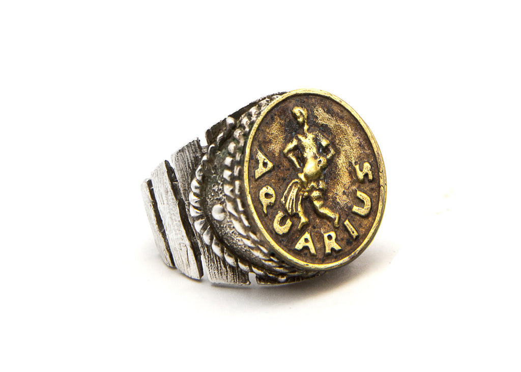 Aquarius Astrology Zodiac Ring - The Water Bearer
