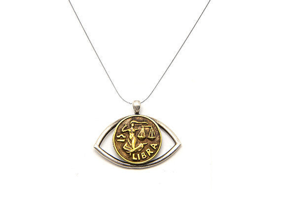 Libra Sign Astrology Zodiac Eye Charm Necklace