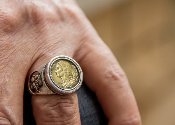 Old French Coin Ring - 5 Centimes Coin of France Ring
