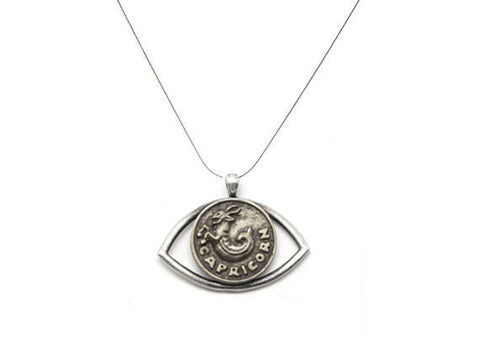 Capricorn Sign Astrology Zodiac Eye Charm Necklace