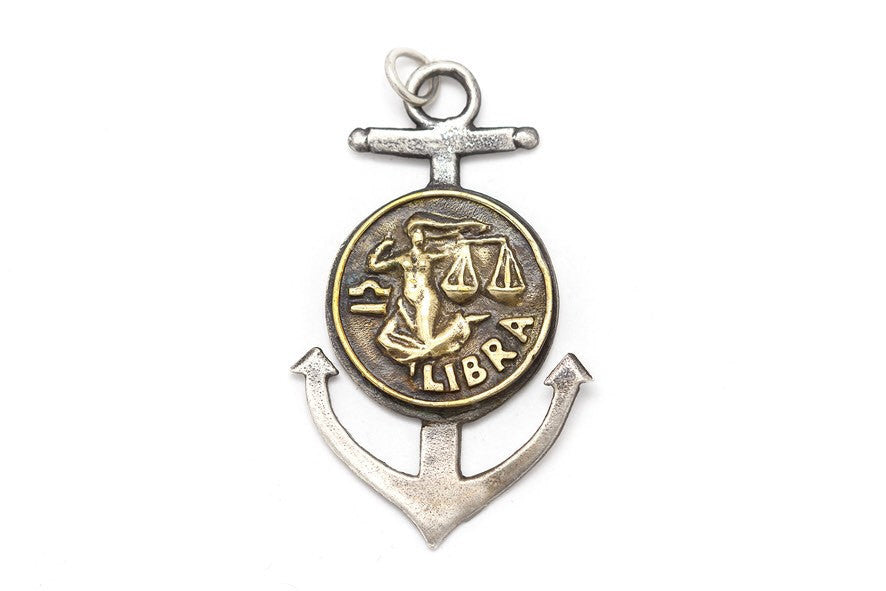 Libra Sign Astrology Zodiac Medallion Anchor Pendant Necklace