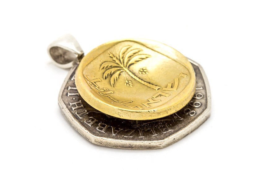 Israel & England Old, Collector's Coin Pendant  Necklace