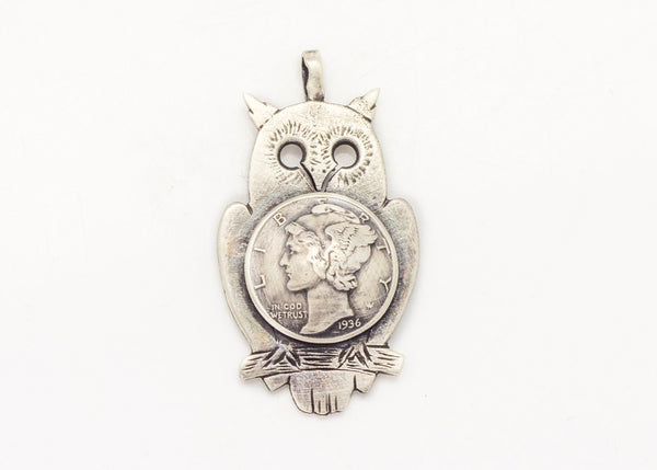 Mercury Dime Old Collector's Coin of USA Owl Pendant Necklace