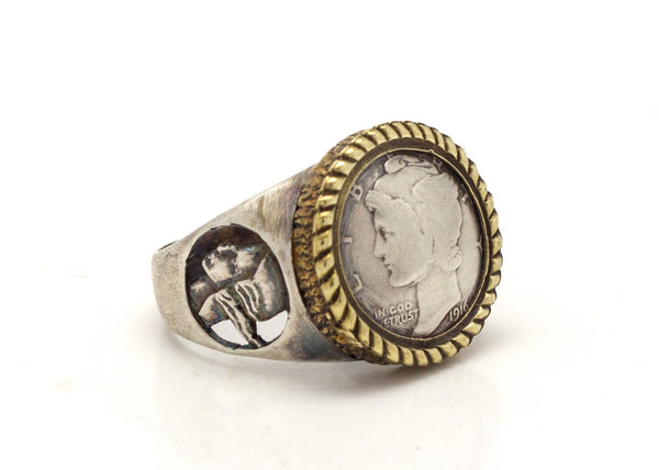 Mercury Dime Old Collector's Coin of USA Gold & Silver Ring