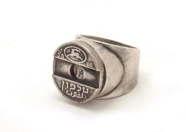 Israeli Asimon Telephone Token Coin - Old, Collector's Coin Ring