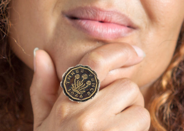 British 3 Pence Coin Ring - Great Britain Coin