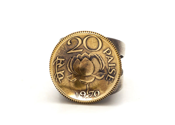 Indian Coin Ring - 20 Paise Old Collector's Coin of India
