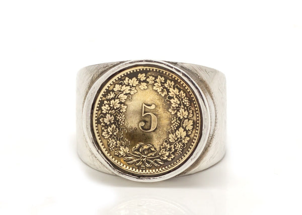 Swiss 5 Rappen Coin Ring - Switzerland Coin