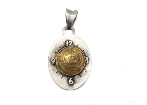 Israeli Coin Necklace - 5 Agorot coin of Israel Clock Pendant