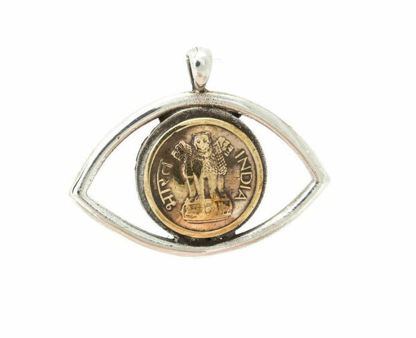 Indian Old, Collector's Coin Eye Necklace - 1 Paisa Lion Coin