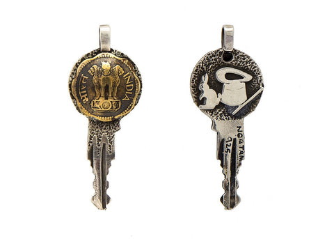 Indian Coin Key Pendent - Old, Collector's Coin 10 Paise India Coin