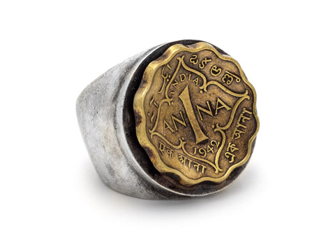 Indian Coin Ring - 1 Anna coin of British India Silver Ring