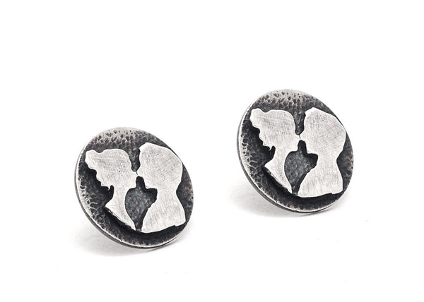 The Couple Stud Coin Handmade Silver Earrings