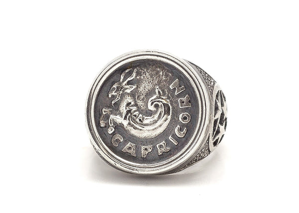 Capricorn Sign Astrology Zodiac Medallion Silver Ring
