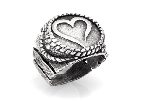 Open Heart Coin Medallion Sterling Silver Ring