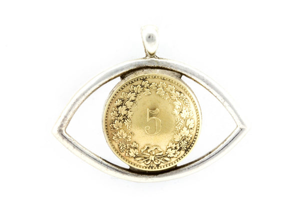 Swiss Coin Necklace - 5 Rappen Coin of Switzerland Eye Necklace