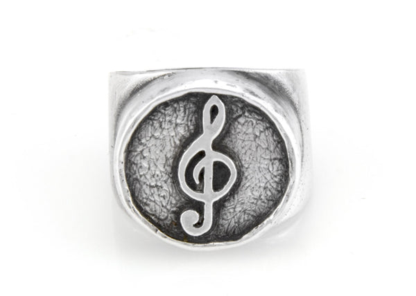 Treble Clef Musical Coin Medallion Ring - Sterling Silver