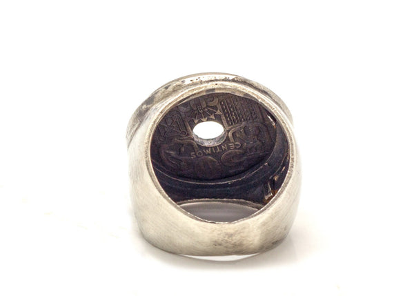 Spanish Old, Collector's Coin Ring - 50 centimos Coin of Spain