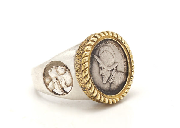 Panamanian Balboa Coin Intricate Gold and Silver Ring