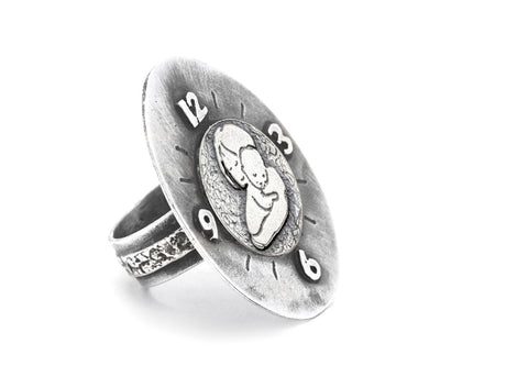 Mother and Child Unconditional Love Coin Medallion Clock Ring