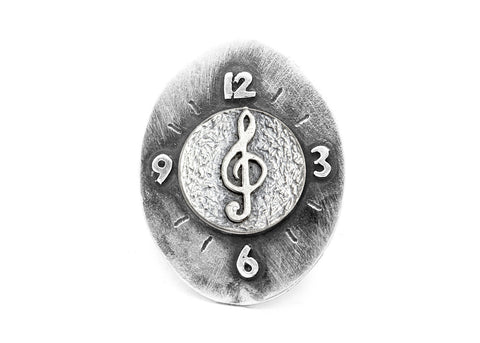 Treble Klef Musical Coin Medallion Clock Ring