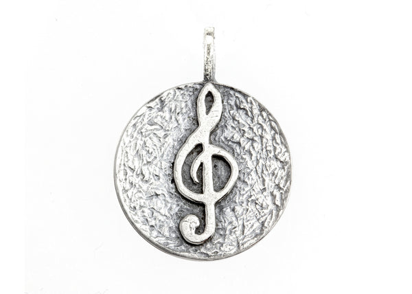 Treble Klef Musical Coin Medallion Necklace