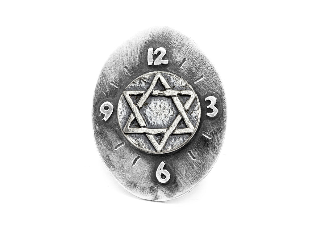 Star of David Coin Medallion Clock Ring