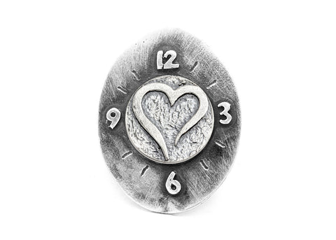 Open Heart Coin Timeless Medallion Clock Ring