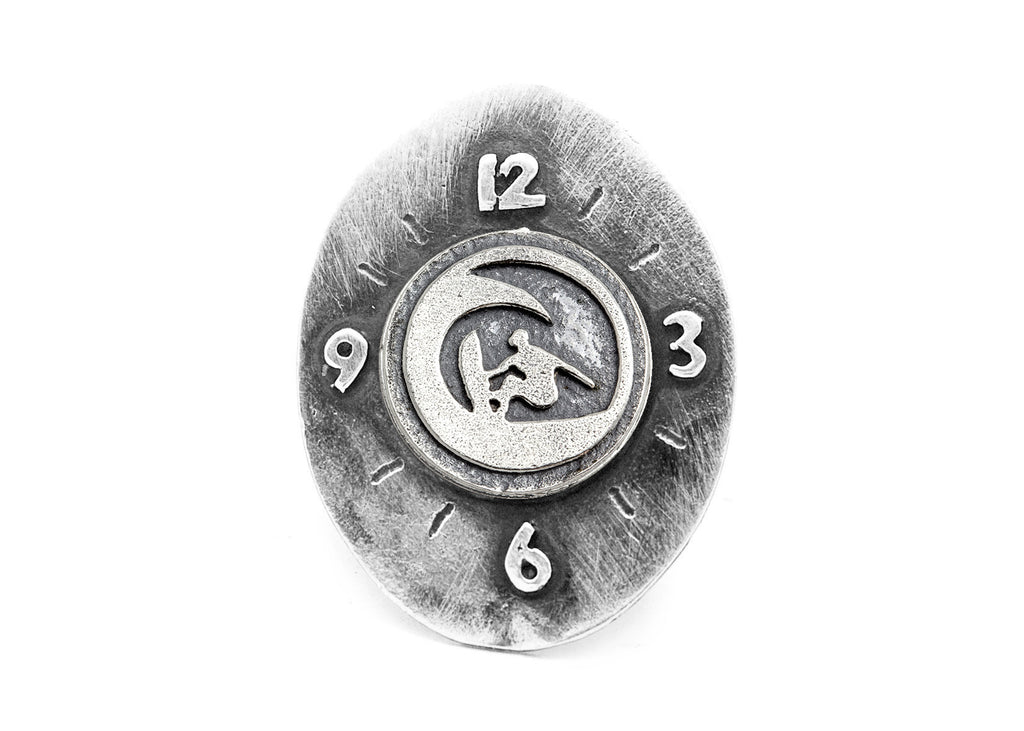 "Surfer ""Ride the Wave"" Coin Medallion Clock Ring"