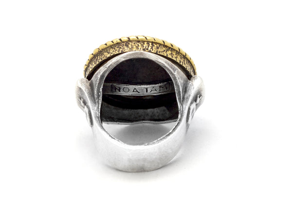 Vegan coin ring with the Vegan Symbol coin medallion