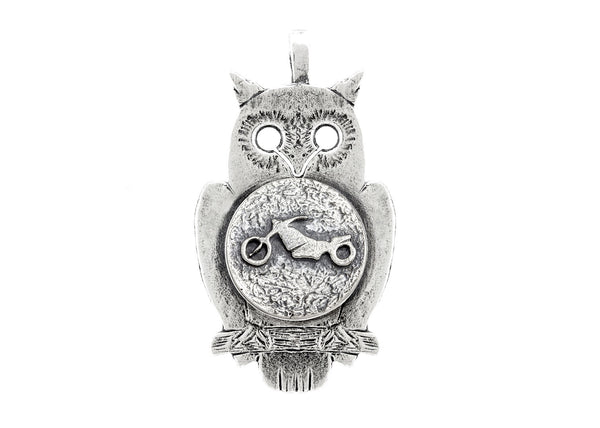 Owl with Motorcycle Coin Medallion