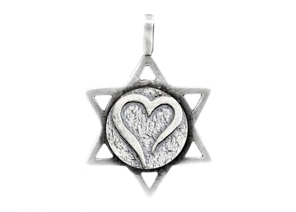 Star of David with Open Heart Medallion
