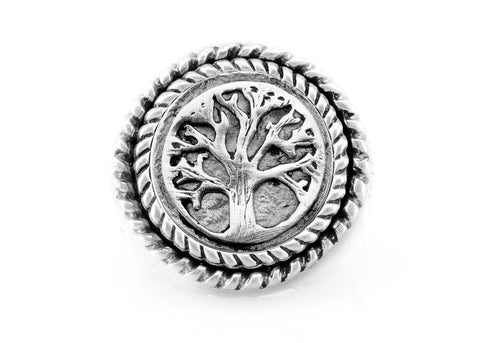 coin ring with the Tree medallion on fleur de lis ring