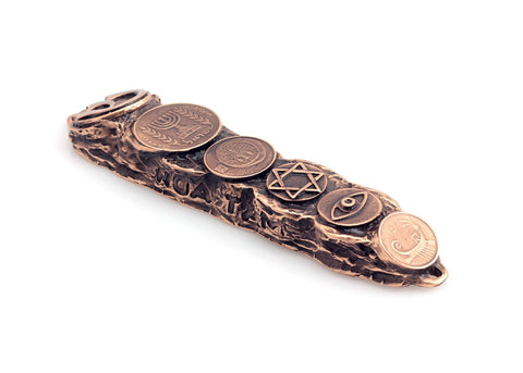 Mezuzah with Judaica Symbols & Blessings in Copper - Small (13cm)