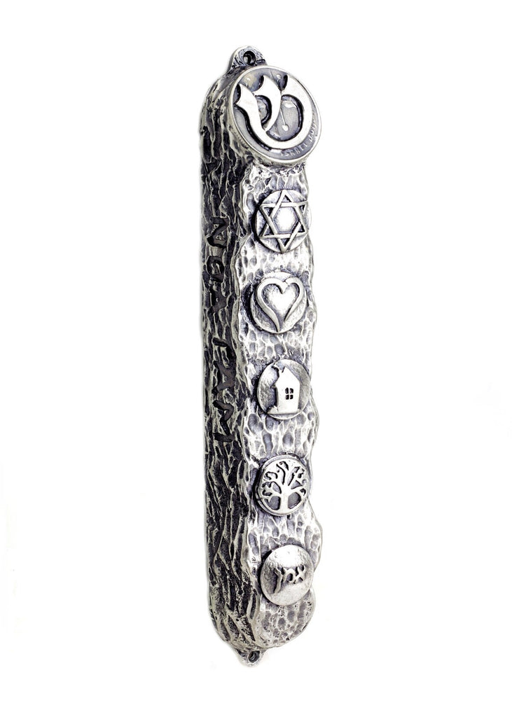 Silver Mezuzah with Bright Symbols & Blessings - Big (16cm)