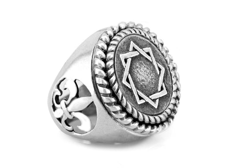 Star of Abraham Magen Avraham coin medallion on fleur de lis ring
