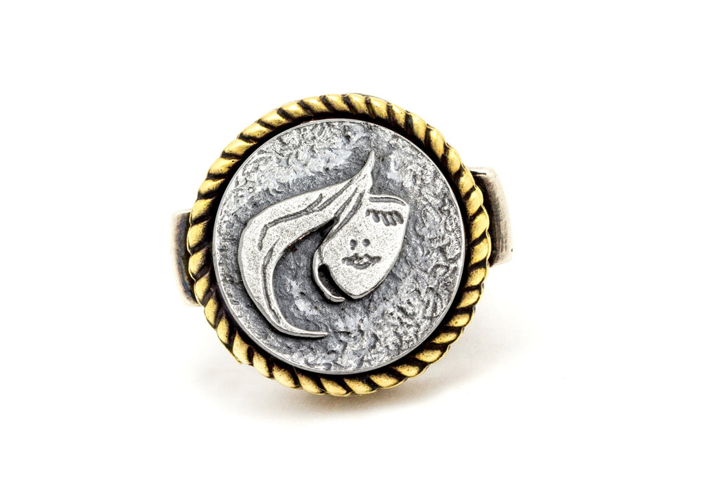 Coin ring with the Stylish Face coin medallion