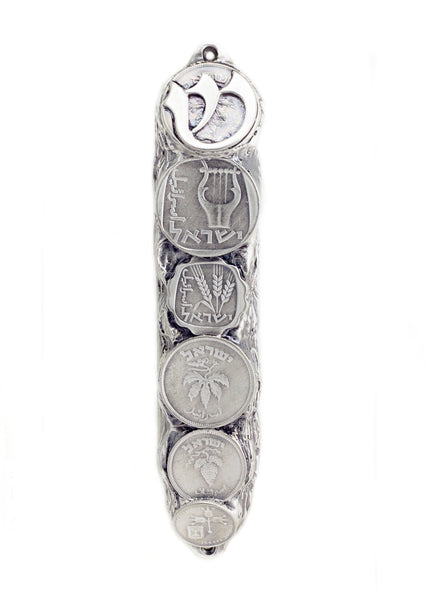 Mezuzah with Israeli Collector's Coins & Blessings in Silver - Small (13 cm)