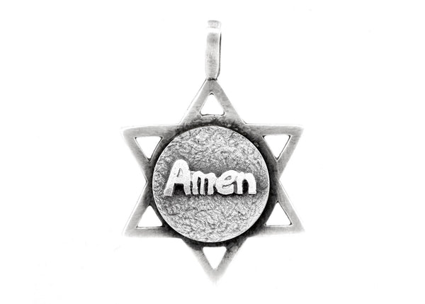 Star of David with Amen Medallion in English