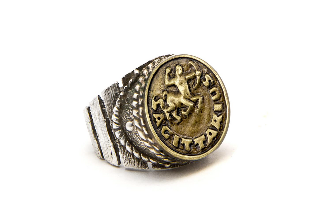Coin ring with the Sagittarius coin medallion Silver ring zodiac sign