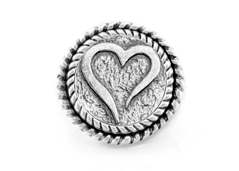 coin ring with the Open heart medallion on fleur de lis ring heart ring